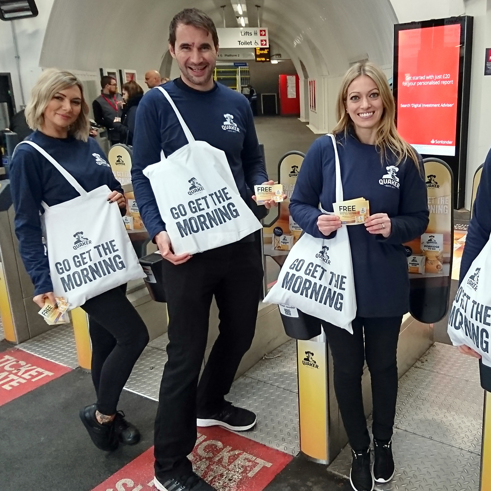 Promo team in the station