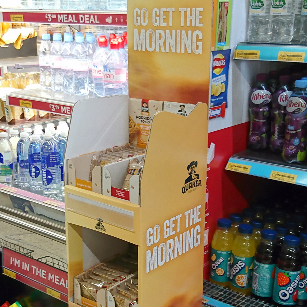 Quaker Porridge To Go display in WHSmith