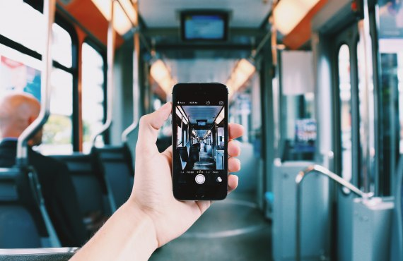 Smartphone photographing train carriage
