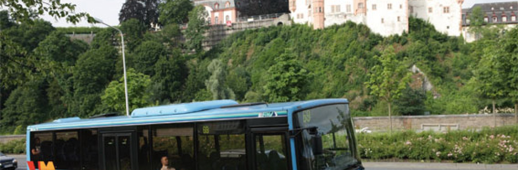 Blue bus parked
