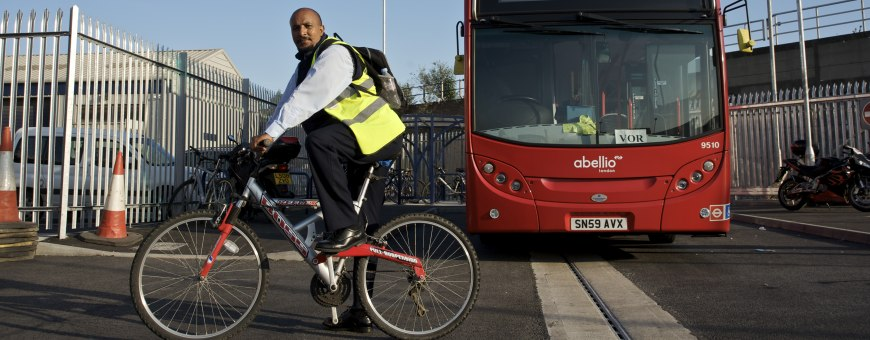 Cyclist and bus
