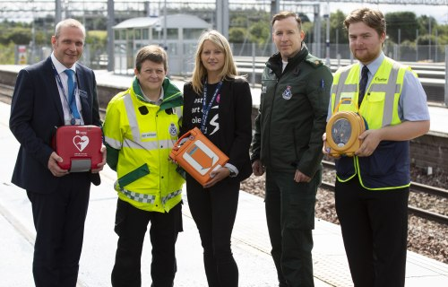 Left to right: David Lister, ScotRail Alliance Sustainability & Safety Assurance Director; Karen Burns, Community First Responder; Sarah Smith, Cardiac Advisor, Chest Heart & Stroke Scotland; Bryan Finlay, National Resilience Manager, Scottish Ambulance S