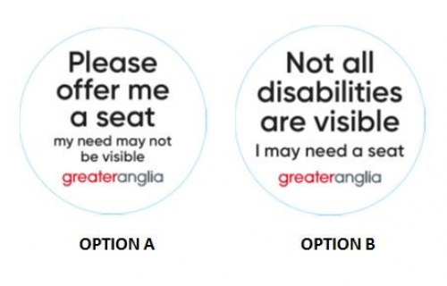 Greater Anglia introduces 'Offer Me A Seat' badges