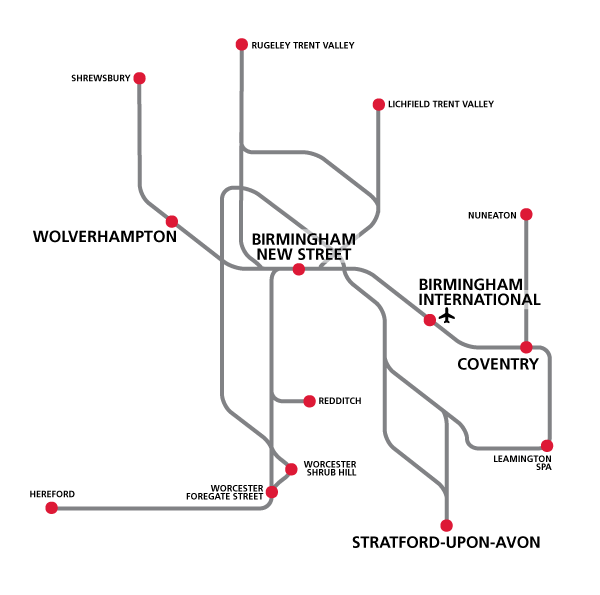 West Midlands Railway network map
